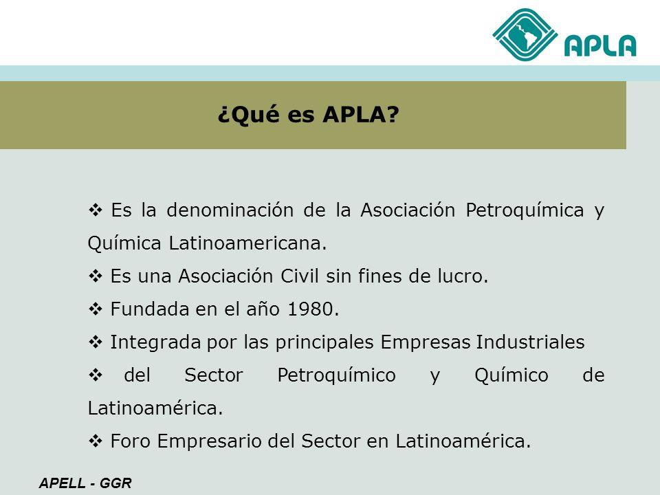 ¿Qué es APLA Es la denominación de la Asociación Petroquímica y Química Latinoamericana. Es una Asociación Civil sin fines de lucro.