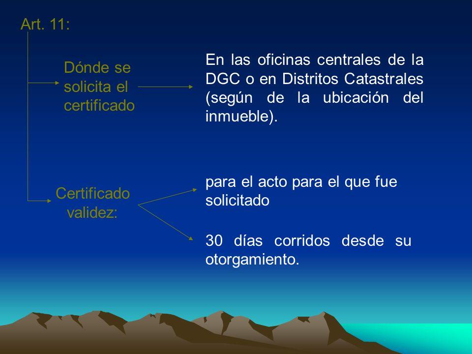 Art. 11:En las oficinas centrales de la DGC o en Distritos Catastrales (según de la ubicación del inmueble).