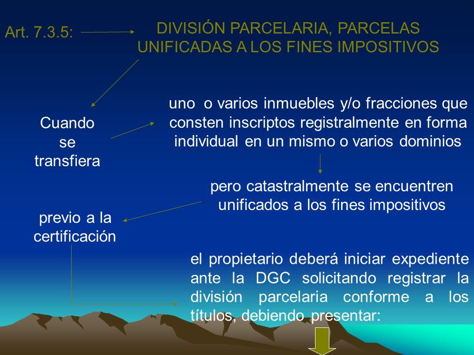 DIVISIÓN PARCELARIA, PARCELAS UNIFICADAS A LOS FINES IMPOSITIVOS