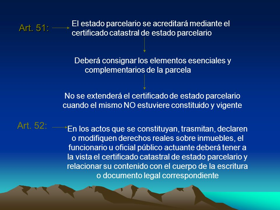 Art. 51: El estado parcelario se acreditará mediante el certificado catastral de estado parcelario.