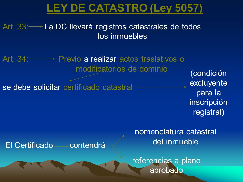 LEY DE CATASTRO (Ley 5057) Art. 33: