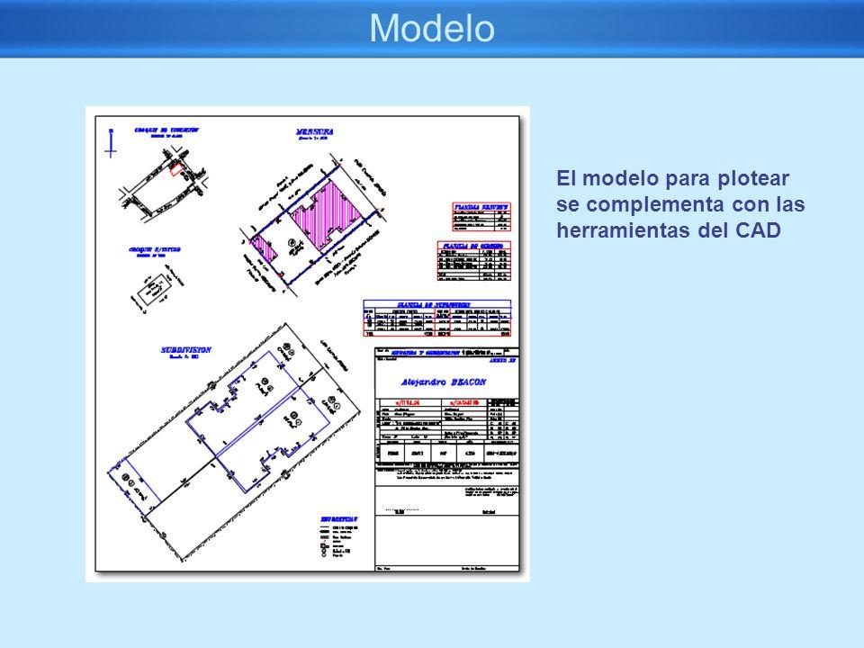 Modelo El modelo para plotear se complementa con las herramientas del CAD