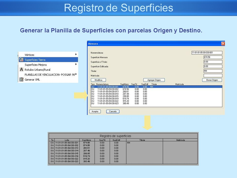 Registro de Superficies