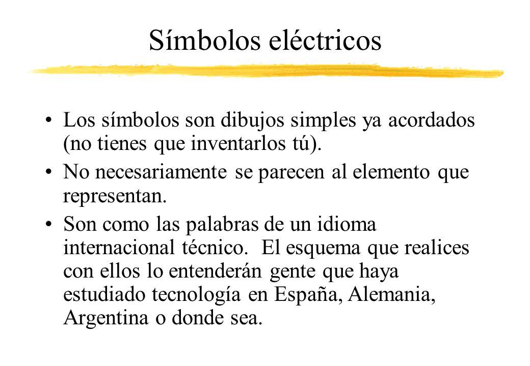 Símbolos eléctricos Los símbolos son dibujos simples ya acordados (no tienes que inventarlos tú).