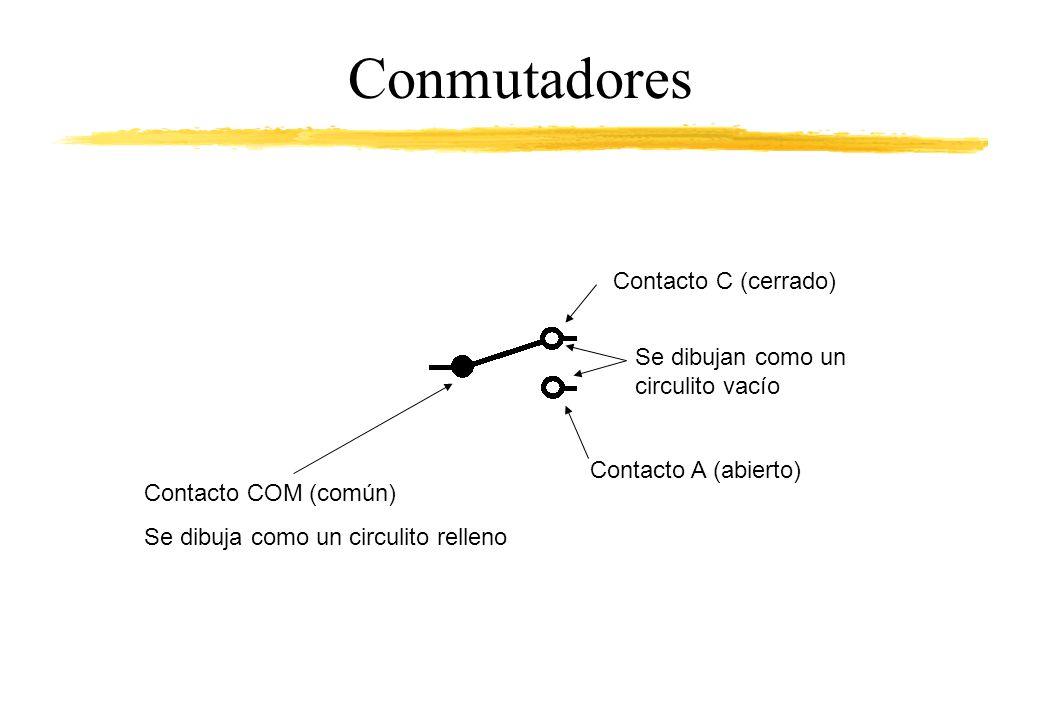 Conmutadores Contacto C (cerrado) Se dibujan como un circulito vacío