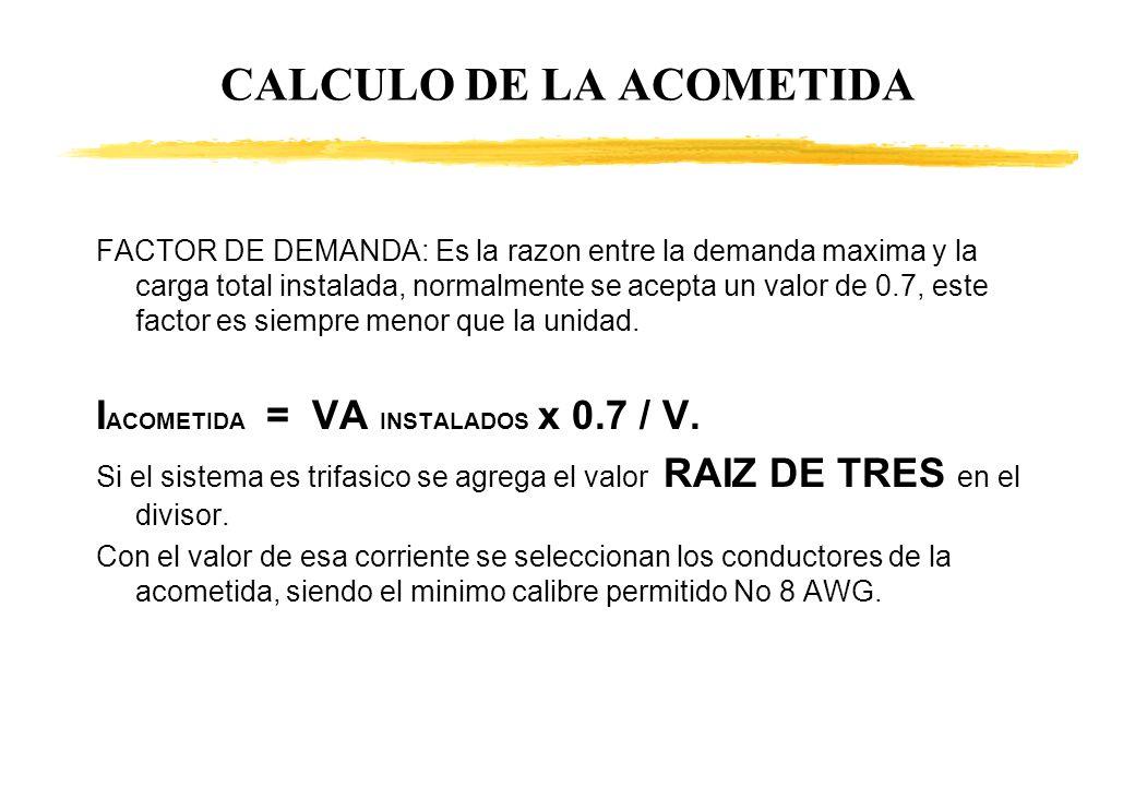 CALCULO DE LA ACOMETIDA