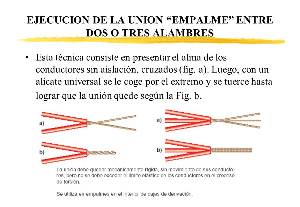 EJECUCION DE LA UNION EMPALME ENTRE DOS O TRES ALAMBRES