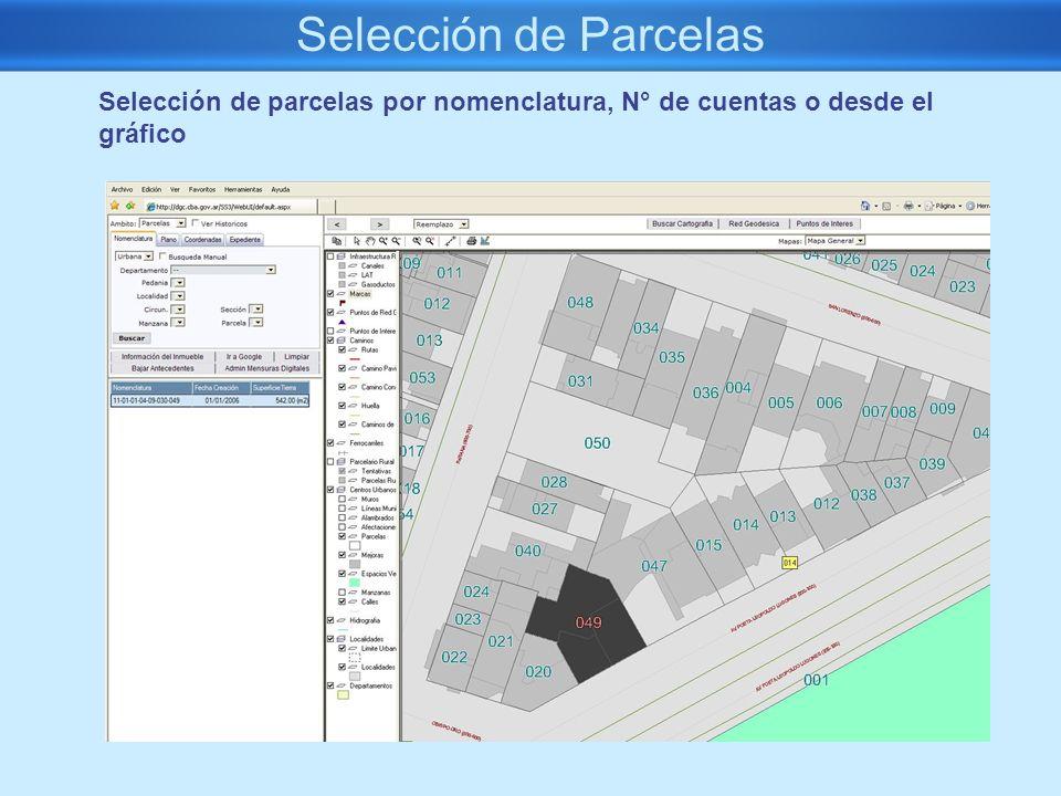 Selección de Parcelas Selección de parcelas por nomenclatura, N° de cuentas o desde el gráfico. Todos los datos en Oracle. Consistencia, integridad.
