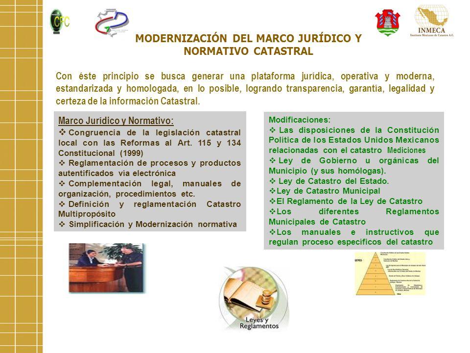 MODERNIZACIÓN DEL MARCO JURÍDICO Y NORMATIVO CATASTRAL