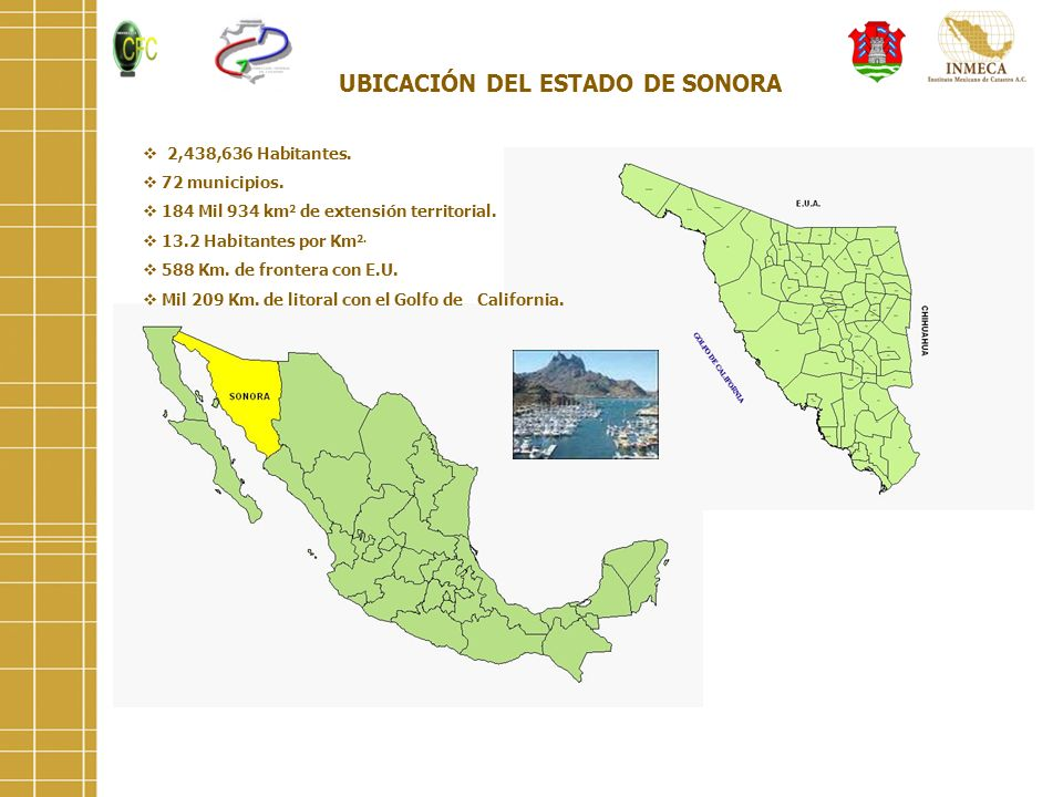 UBICACIÓN DEL ESTADO DE SONORA