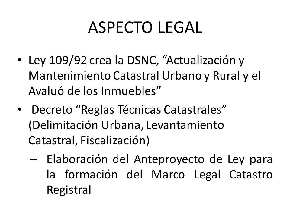 ASPECTO LEGAL Ley 109/92 crea la DSNC, Actualización y Mantenimiento Catastral Urbano y Rural y el Avaluó de los Inmuebles
