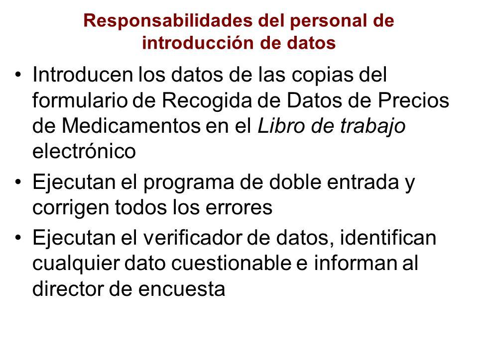 Responsabilidades del personal de introducción de datos