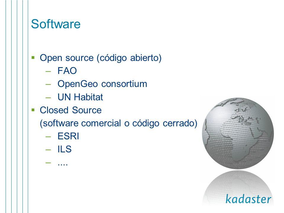 Software Open source (código abierto) FAO OpenGeo consortium