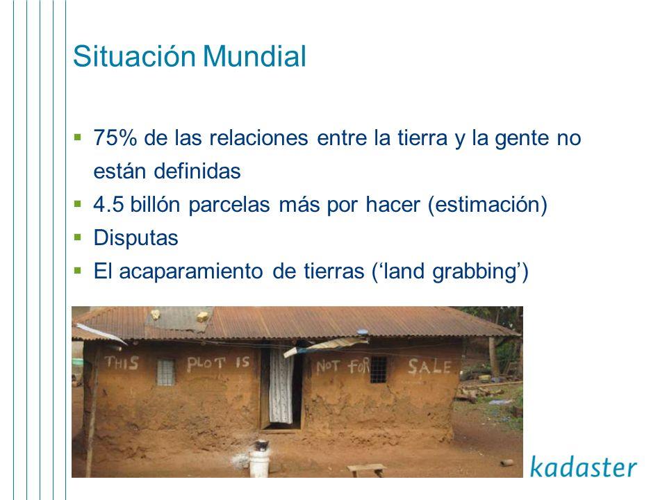Situación Mundial 75% de las relaciones entre la tierra y la gente no están definidas. 4.5 billón parcelas más por hacer (estimación)