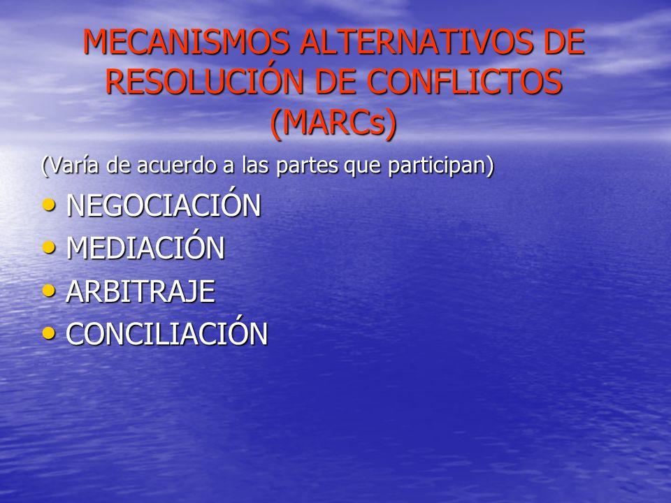 MECANISMOS ALTERNATIVOS DE RESOLUCIÓN DE CONFLICTOS (MARCs)