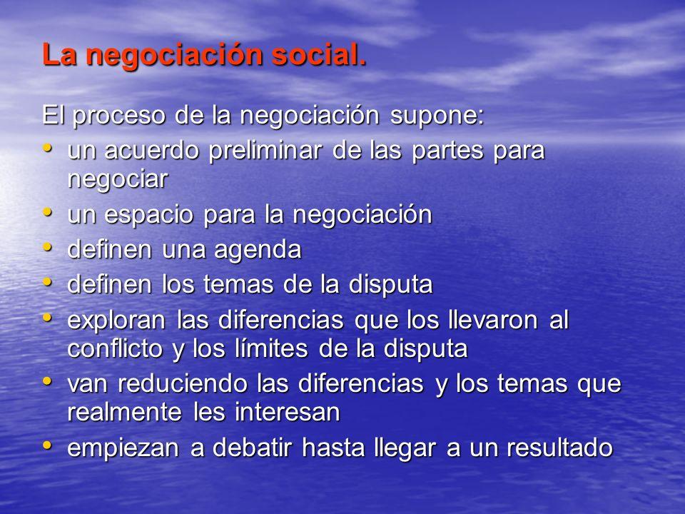 La negociación social. El proceso de la negociación supone: