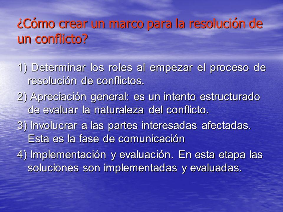 ¿Cómo crear un marco para la resolución de un conflicto