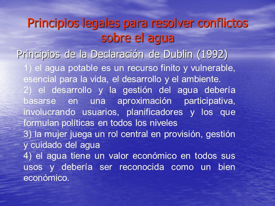 Principios legales para resolver conflictos sobre el agua