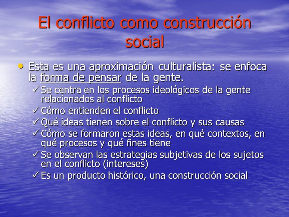 El conflicto como construcción social