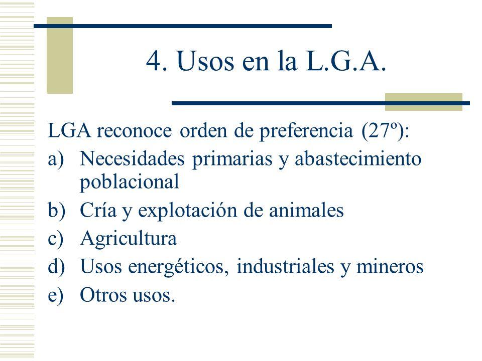 4. Usos en la L.G.A. LGA reconoce orden de preferencia (27º):