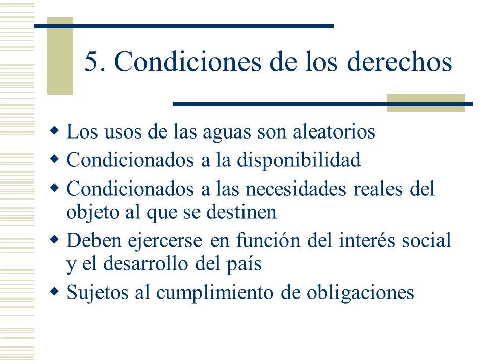 5. Condiciones de los derechos