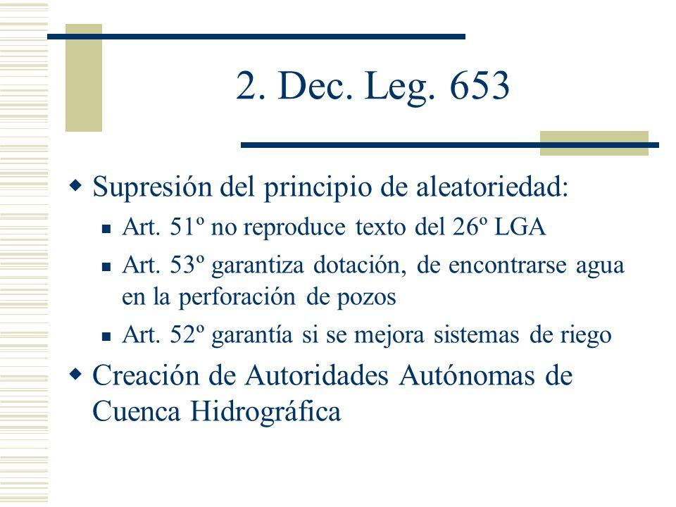 2. Dec. Leg. 653 Supresión del principio de aleatoriedad: