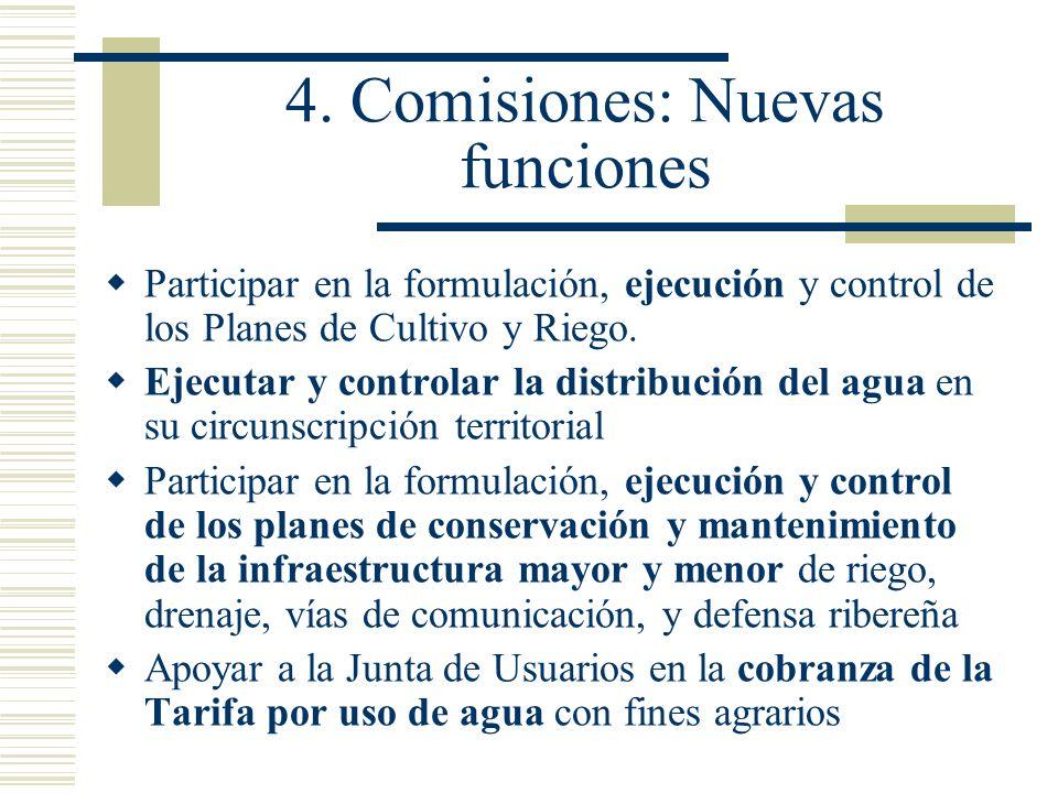 4. Comisiones: Nuevas funciones