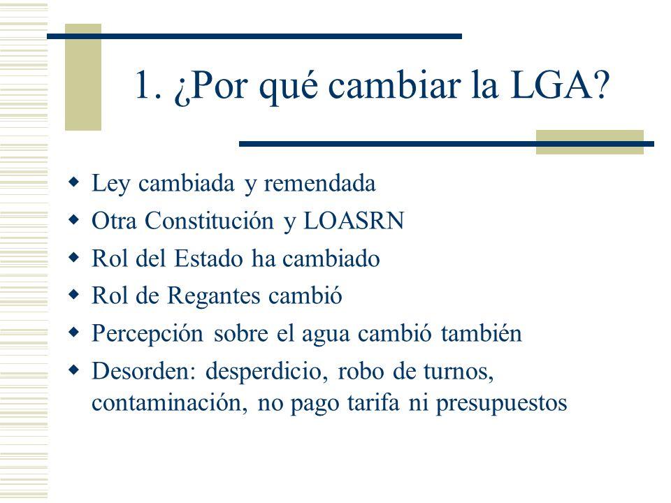 1. ¿Por qué cambiar la LGA Ley cambiada y remendada