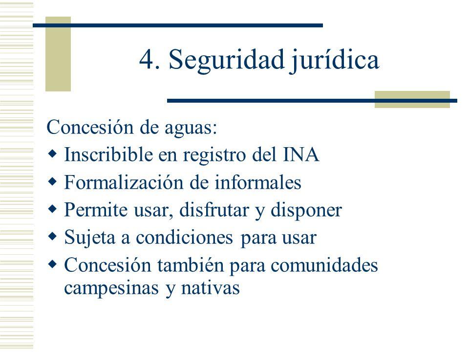 4. Seguridad jurídica Concesión de aguas: