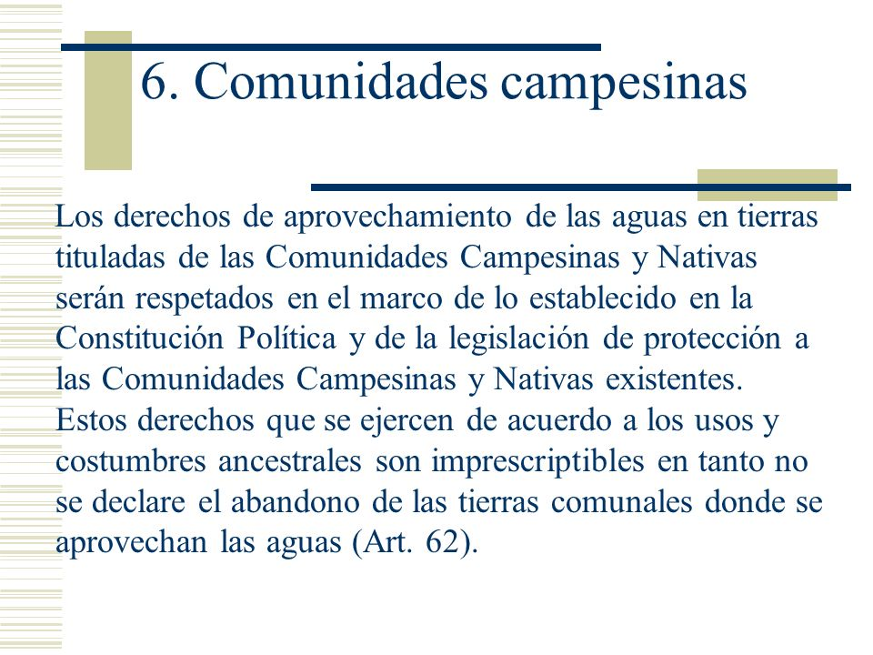 6. Comunidades campesinas
