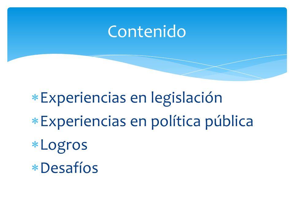Contenido Experiencias en legislación Experiencias en política pública