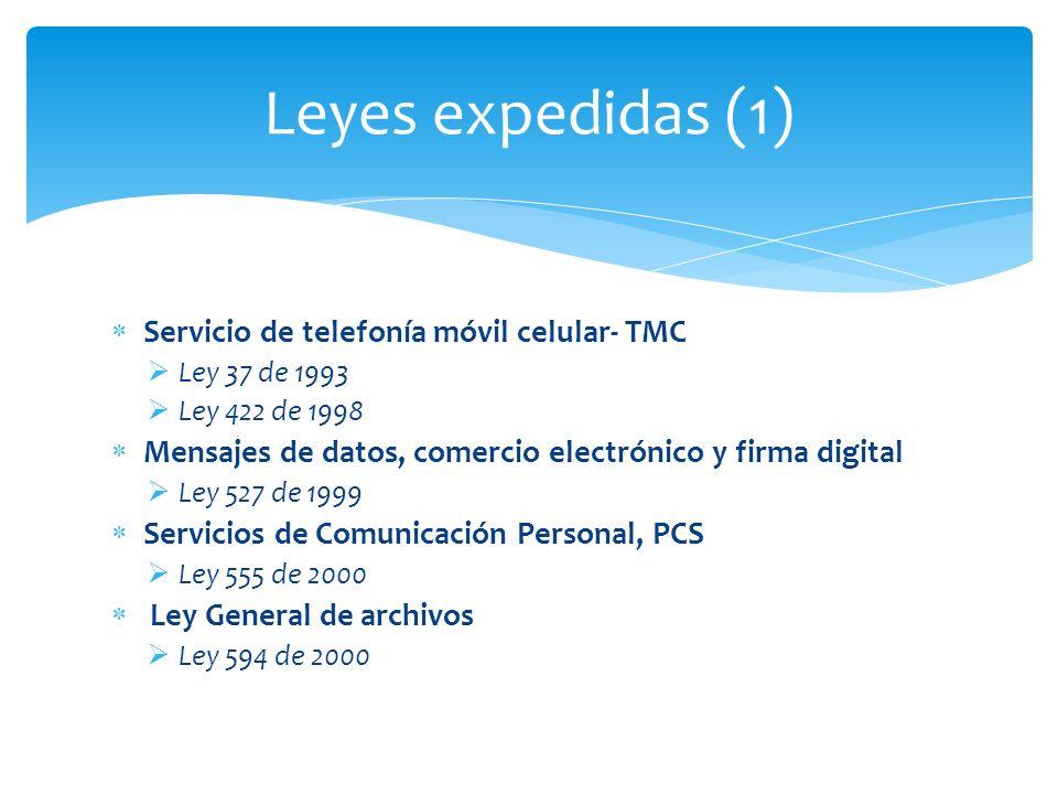 Leyes expedidas (1) Servicio de telefonía móvil celular- TMC