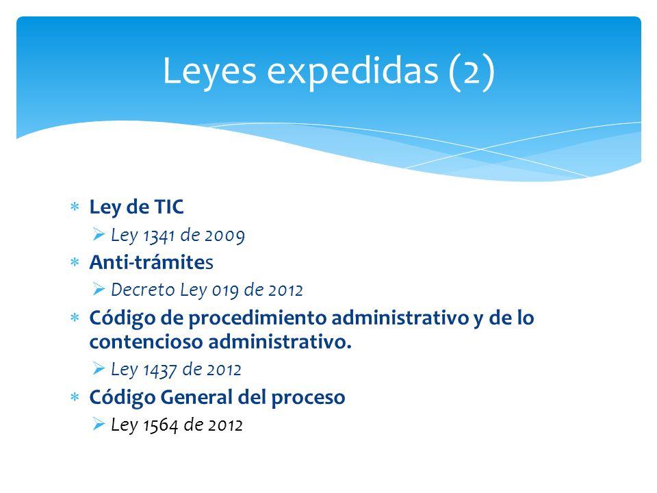 Leyes expedidas (2) Ley de TIC Anti-trámites