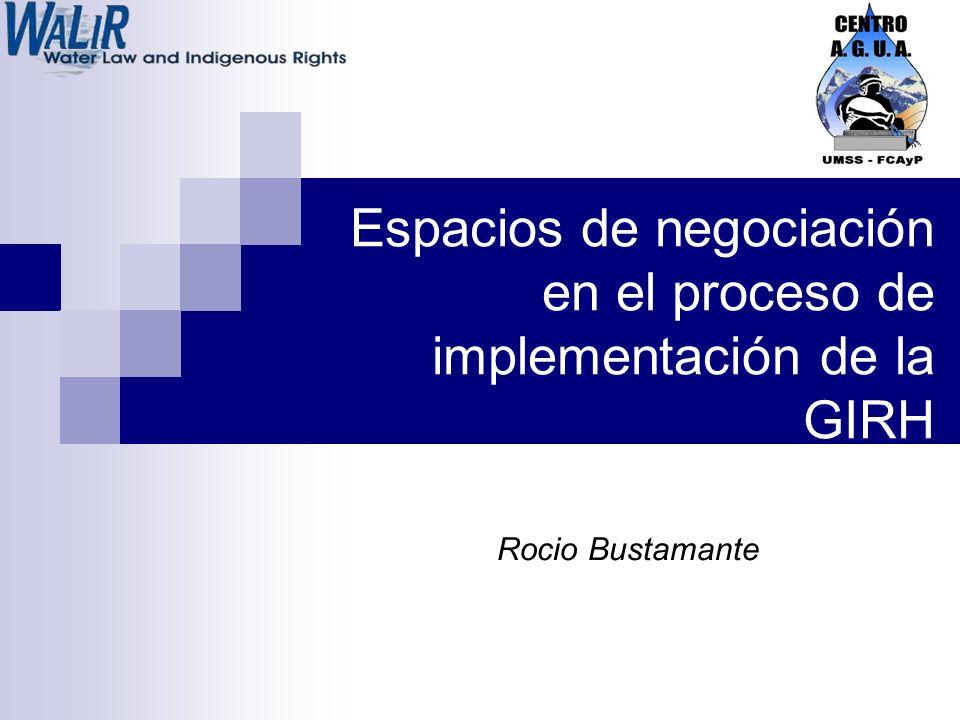 Espacios de negociación en el proceso de implementación de la GIRH