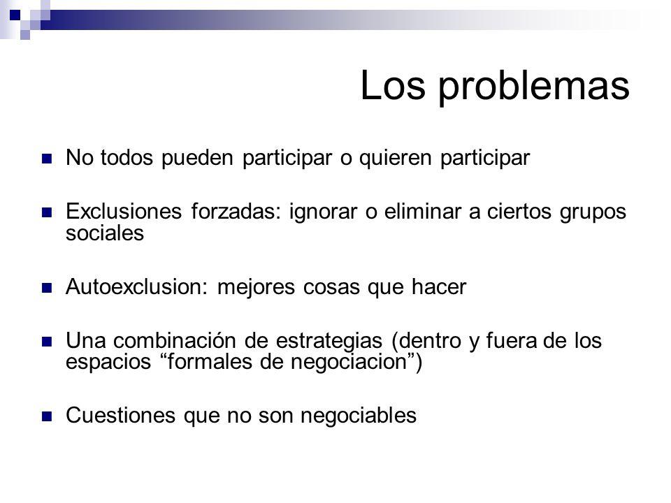 Los problemas No todos pueden participar o quieren participar