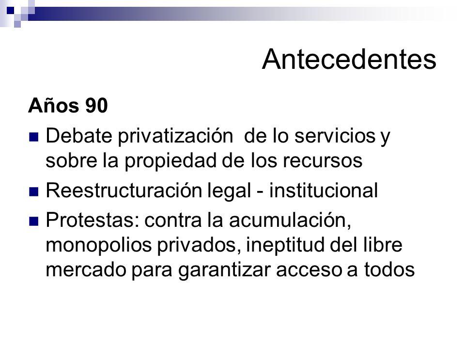 Antecedentes Años 90. Debate privatización de lo servicios y sobre la propiedad de los recursos. Reestructuración legal - institucional.