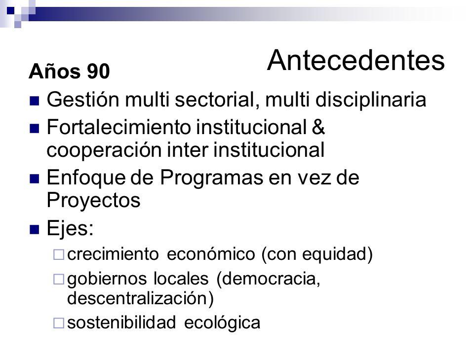 Antecedentes Años 90 Gestión multi sectorial, multi disciplinaria