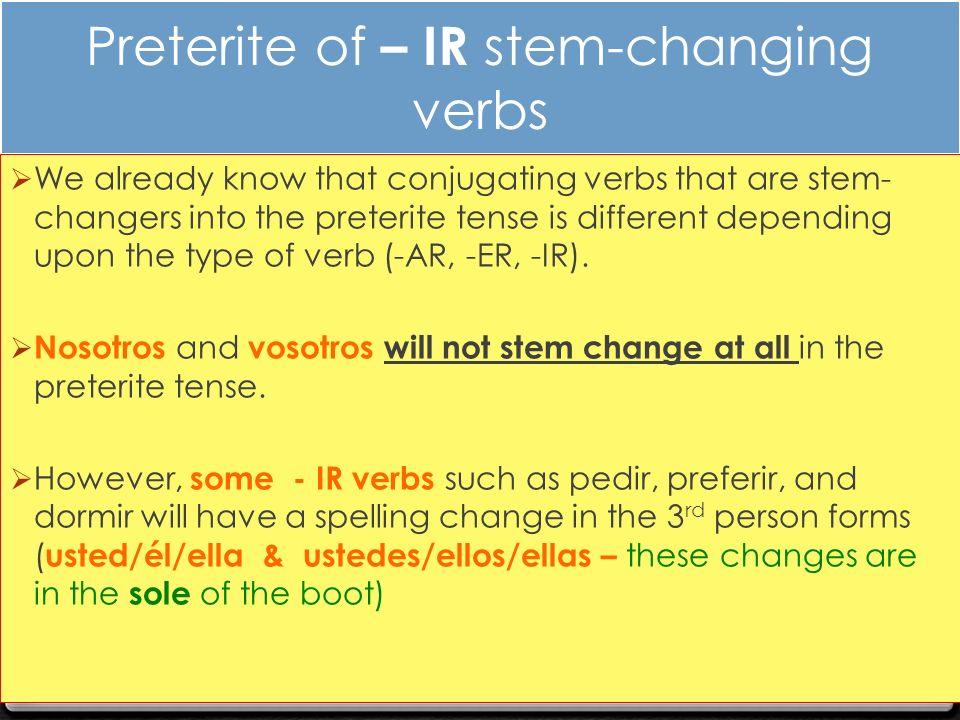 preterite of ir stem changing verbs ppt descargar. Black Bedroom Furniture Sets. Home Design Ideas