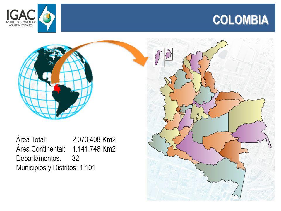 COLOMBIA Área Total: 2.070.408 Km2 Área Continental: 1.141.748 Km2