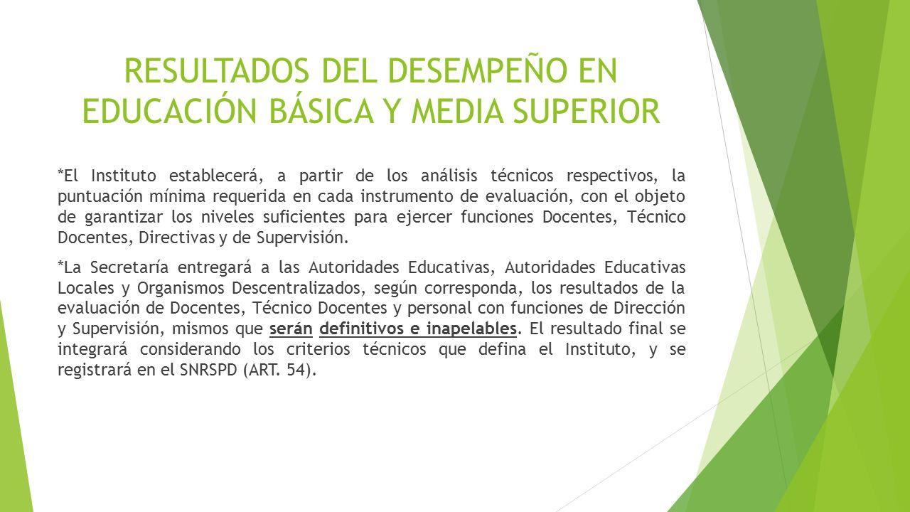 RESULTADOS DEL DESEMPEÑO EN EDUCACIÓN BÁSICA Y MEDIA SUPERIOR