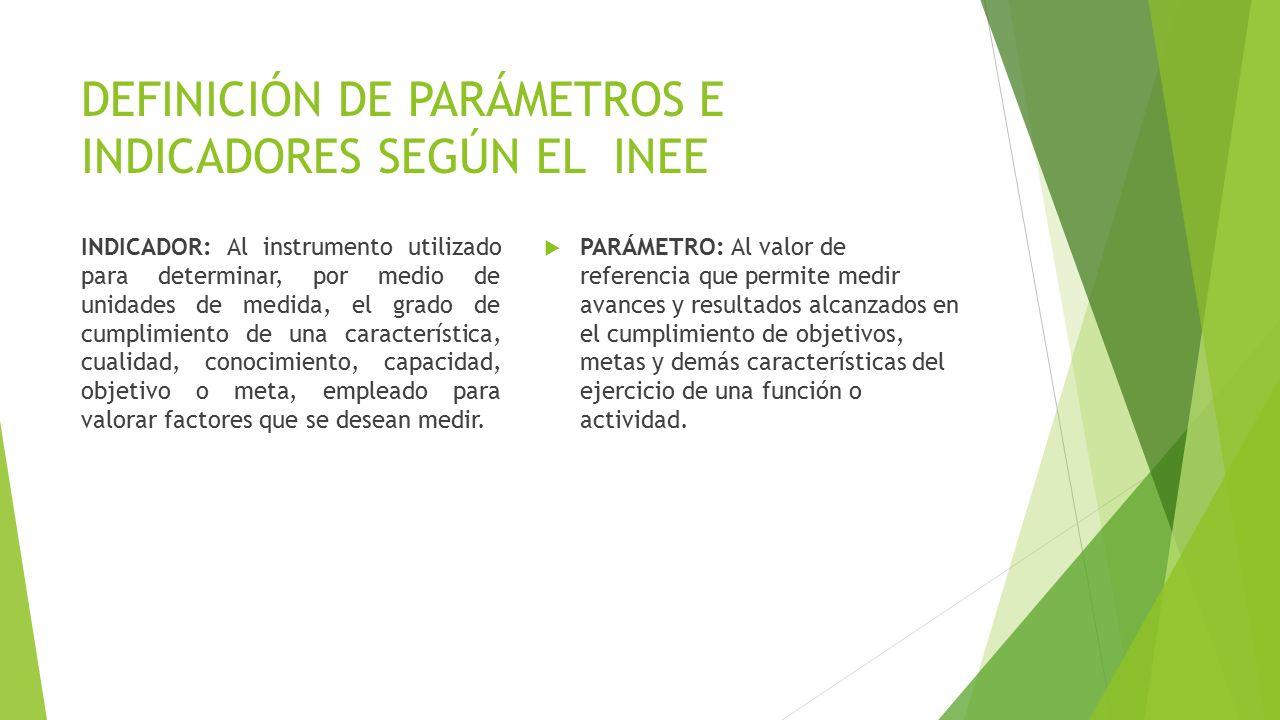 DEFINICIÓN DE PARÁMETROS E INDICADORES SEGÚN EL INEE