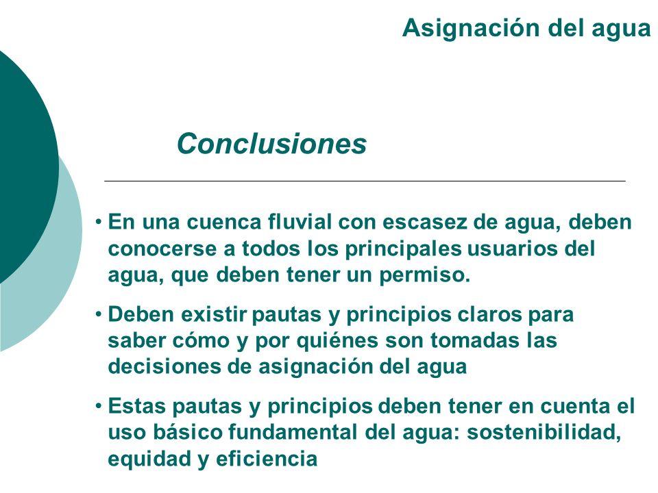 Conclusiones Asignación del agua