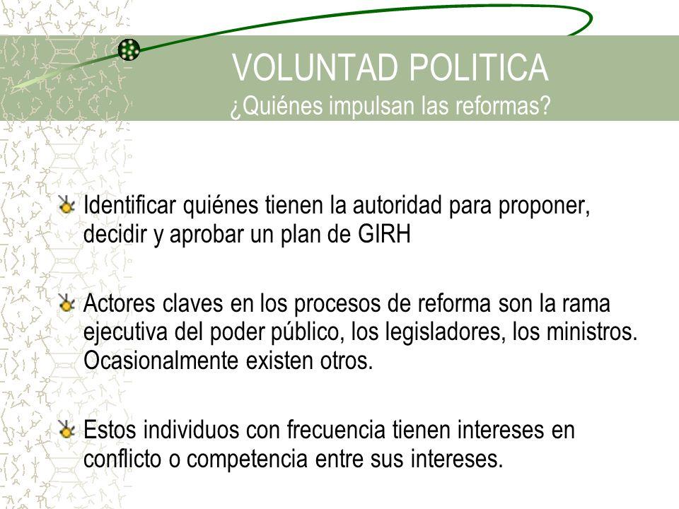 VOLUNTAD POLITICA ¿Quiénes impulsan las reformas