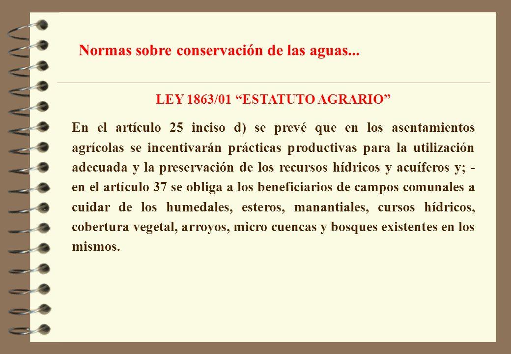 LEY 1863/01 ESTATUTO AGRARIO