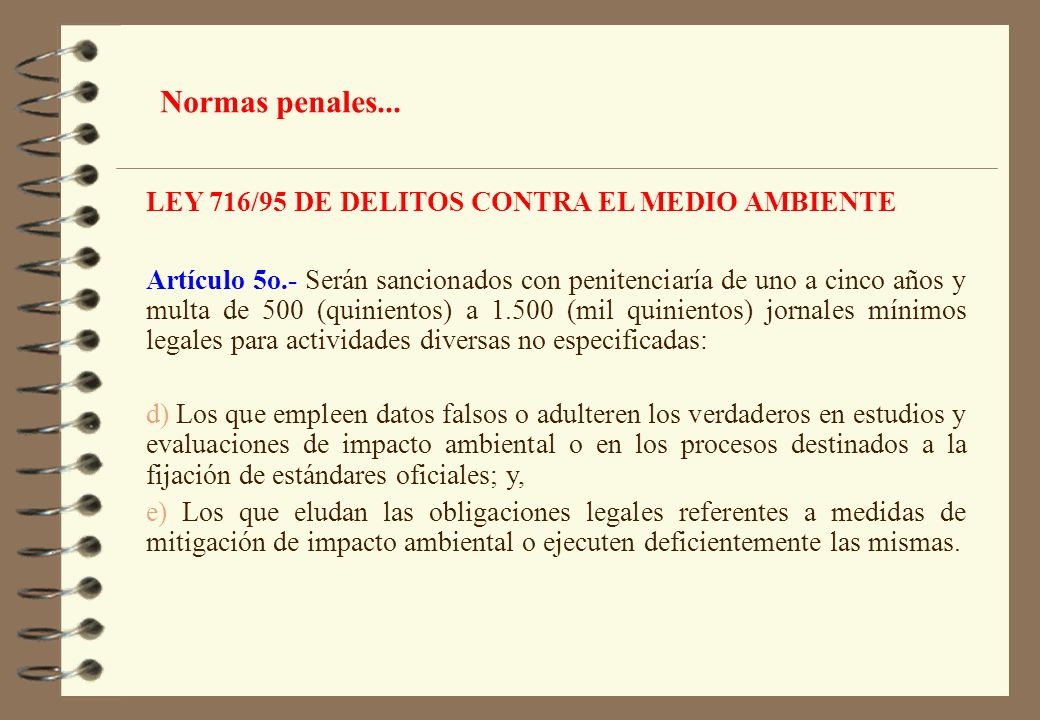 Normas penales... LEY 716/95 DE DELITOS CONTRA EL MEDIO AMBIENTE