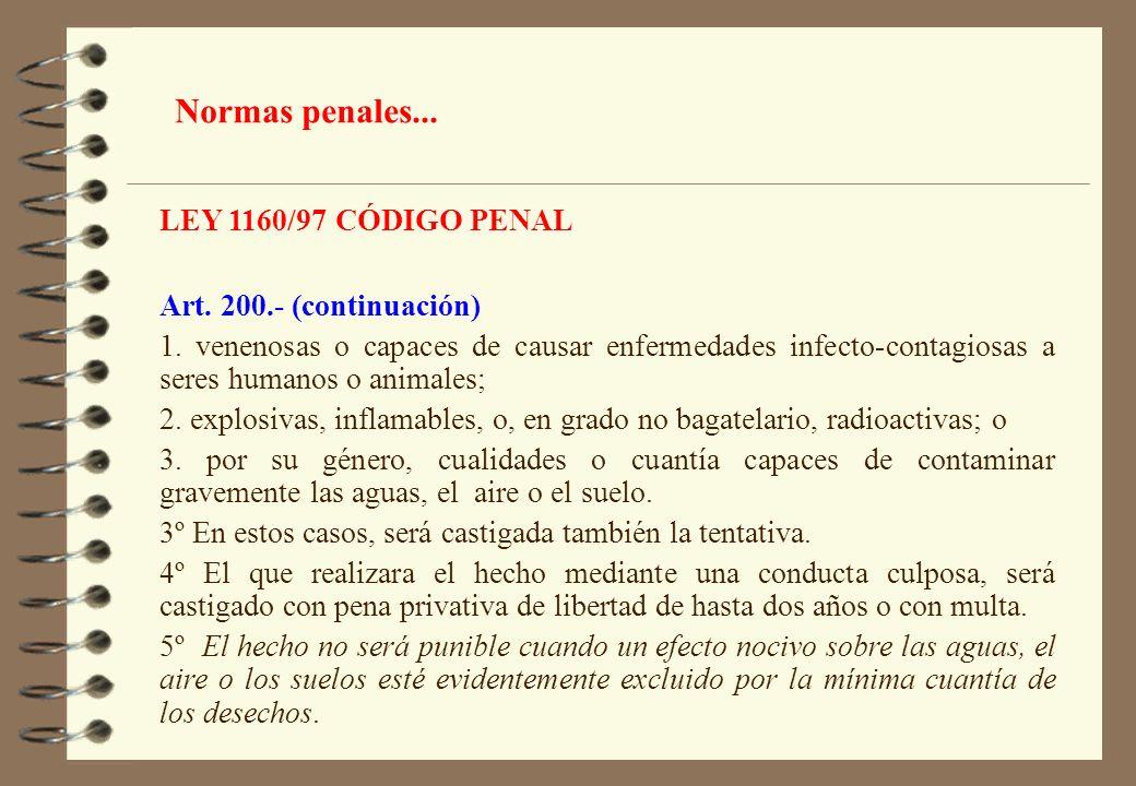 Normas penales... LEY 1160/97 CÓDIGO PENAL Art. 200.- (continuación)