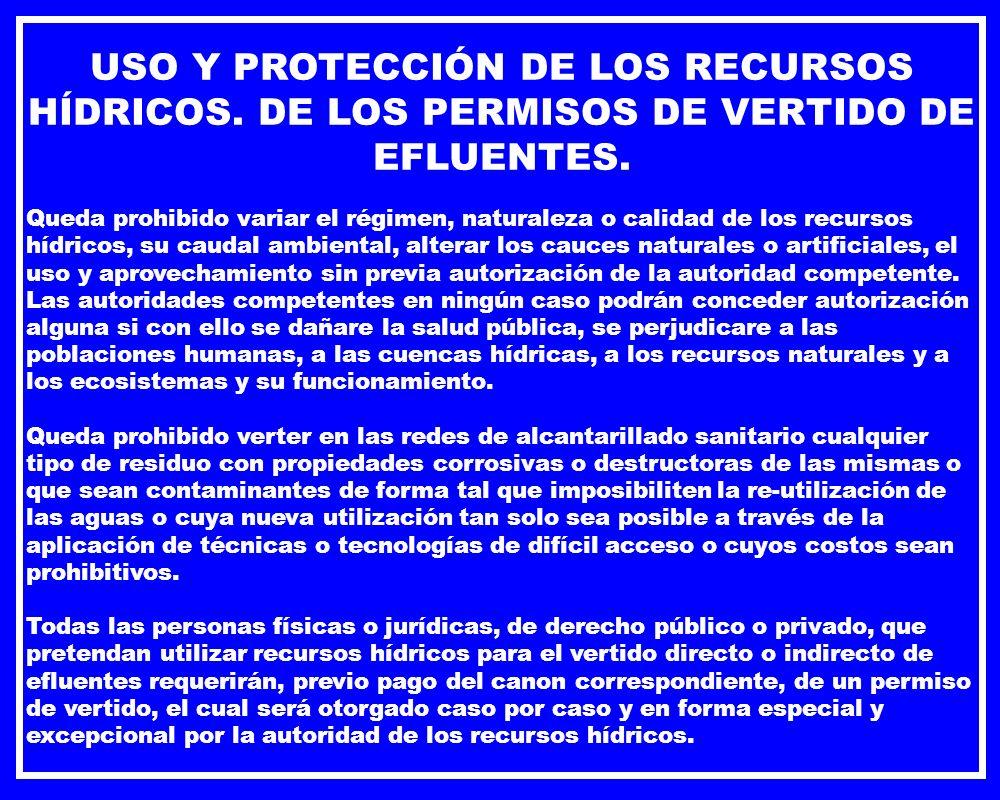 USO Y PROTECCIÓN DE LOS RECURSOS HÍDRICOS