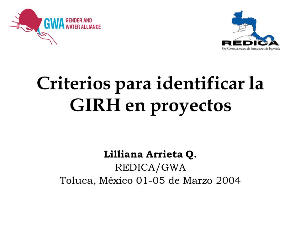 Criterios para identificar la GIRH en proyectos