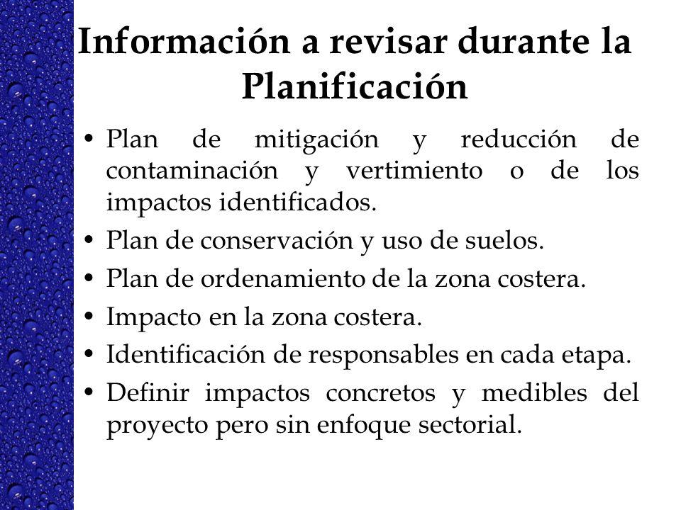 Información a revisar durante la Planificación