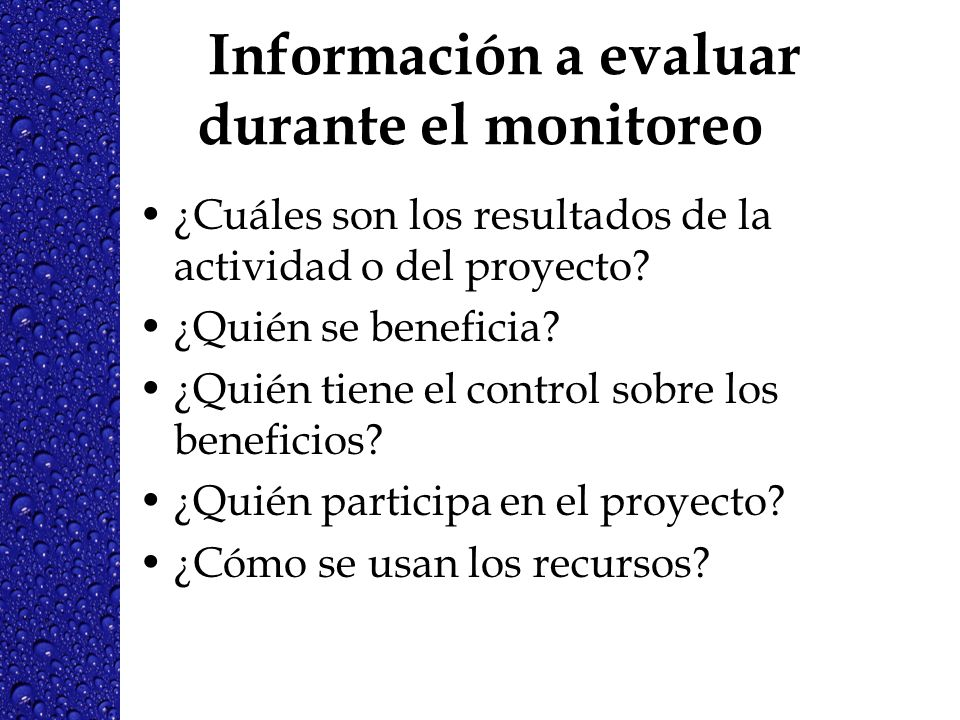 Información a evaluar durante el monitoreo